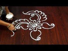 creative and simple rangoli designs without dots - small kolam borders - beginners muggulu easy - YouTube