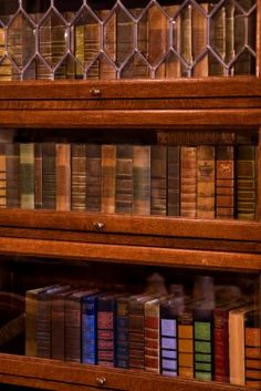 I've always loved barrister bookcases. They remind me of my grandfather's house when I was young. I think the leaded glass and the spines of the vintage books in this picture combine to give off a wonderful old world feel.