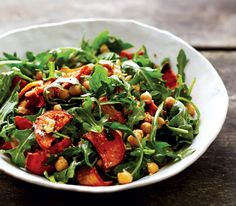 Roasted Winter Vegetables and Arugula Salad With Mustard Dressing