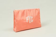 Large custom monogram cosmetic bag by Talley Ho.  Available at https://www.delraymonograms.com/shop-18