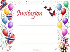 gratis invitasjonkort med ballonger og Norsk flagg