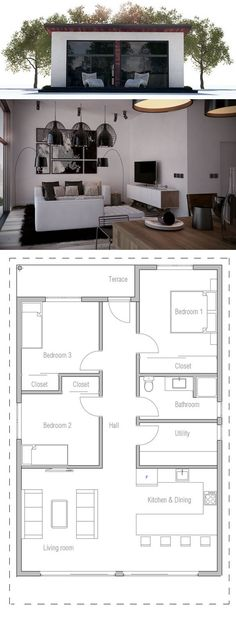 Single story pinoy house plan floor area 90 square meters House - plan petite maison 70 m2