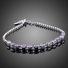 White Gold plated Queen Water Drop Design Purple Cubic Zirconia Bracelet  #rings #womensfashion #women #khaista #fashion #earrings #jewelry #necklace #dresses