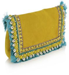 Matthew Williamson Yellow Embroidered Suede Clutch