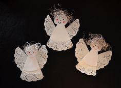Engel aus Tropfdeckchen basteln