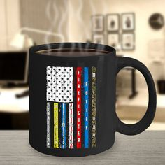Patriotic first responder flag coffee mug, great gift for the essential worker, military, police officer, firefighter, nurses, ems workers Funny Coffee Mugs, Coffee Quotes, My Coffee, Military Police, Police Officer, Tactical Medic, Inspirational Bible Quotes, Gifts For Veterans, Employee Gifts