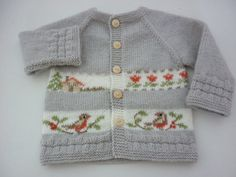 Cardigan with birds Baby , Knitting pattern.Cardigan with birds Knitting pattern.Cardigan with birds Kindersachen. Baby Knitting Patterns, Pattern Baby, Baby Sweater Knitting Pattern, Knitting For Kids, Baby Patterns, Knitting Projects, Baby Cardigan, Cardigan Bebe, Baby Pullover