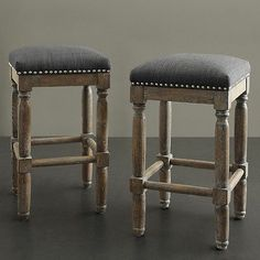 Set of 2 Solid Wood Grey Counter Stools Rustic Handcrafted Reclaimed Wood Finish | eBay