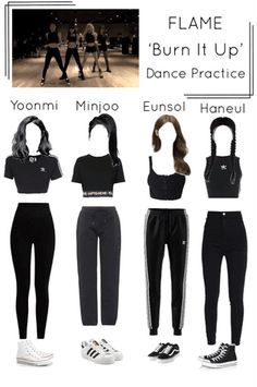Flame-official on ShopLook Hip Hop Dance Outfits, Stage Outfits, Dance Practice Outfits, Kpop Fashion Outfits, Ulzzang Fashion, Korean Fashion, Tumblr Outfits, Mode Outfits, Moda Kpop