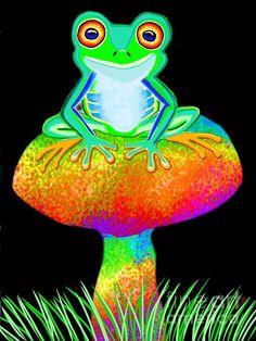 A red eyed tree frog on a rainbow mushroom