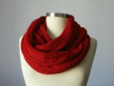 Knitted Cowl Scarf Neck Warmer, terracotta red, Handmade winter women accessories, chunky infinity cowl. $30.00, via Etsy.