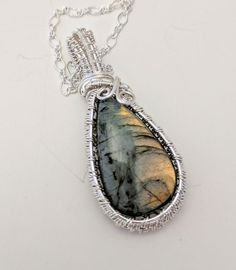 Golden Labradorite tear drop wire wrapped Necklace in Silver plate on chain Wire Wrapped Necklace, Wire Wrapped Pendant, Healing Stones, Crystal Healing, Yellow Cottage, Labradorite, Wire Wrapping, Silver Plate, Pendants