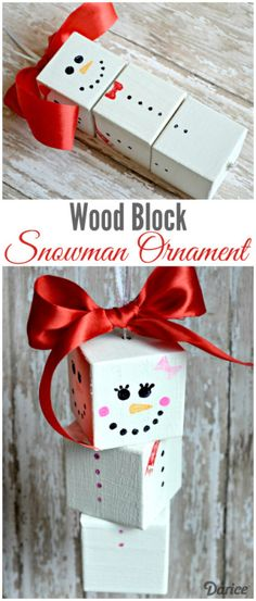 You only need a few supplies to create your own adorable wood block DIY snowman ornaments! They're simple to make & the kids will love decorating their own!