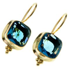 Handcrafted Gold-Plated Brass Blue Hydro Glass Earrings (India)