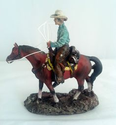 """4.5"""" Inches Small Cowboy on Horse Western Rodeo Figurine Statue Figure"""