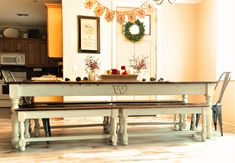 Classic Style Farmhouse Table with carved family letter handmade with 100+ year old reclaimed barn wood to recreate the look of an antique table that has been passed down for many generations.