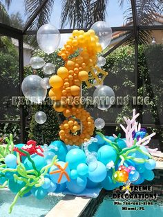 Seahorse Balloon Sculpture. Marine theme / Under the Sea party decorations ideas. Miami, FL 786-663-8198 www.extremedecorations.com