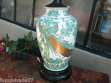 Cool  preowned ASIAN Porcelain Lamp Green& White Lovebirds Floral