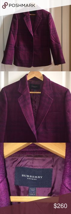Burberry Wool Blazer Women's Burberry 90% Wool 10% Mohair Purple Blazer. Only Worn Once / Excellent Condition. 🚫No Pay Pal 🚫No Trades 🚫 Burberry Jackets & Coats Blazers
