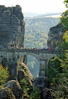 The Bastei Bridge in the Elbe Sandstone Mountains nearby Dresden, Germany.