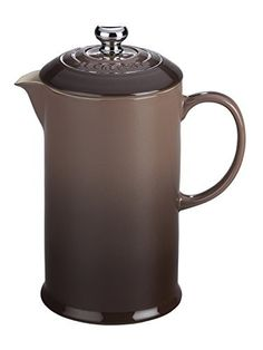 Le Creuset of America Stoneware Petite French Press, 12 oz, Truffle