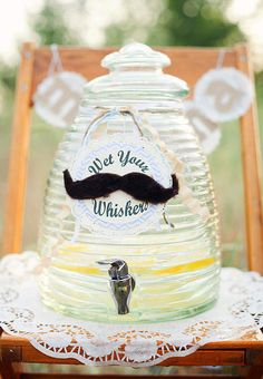 Little Man + Mustache Mr Man Baby Shower Birthday Party Planning wet your whiskers lemonade service