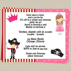Pirate and Princess Party Invitations Set of by TheInviteLadyShop. Cute for birthdays that are close Combined Birthday Parties, 4th Birthday Parties, Birthday Fun, Birthday Ideas, Twin Birthday, Pirate Birthday, Princess Birthday, Princess Party Invitations, Birthday Party Invitations