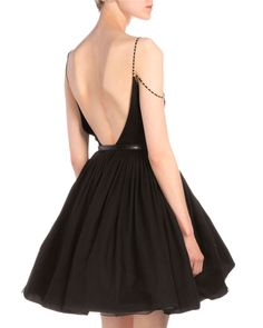 Contrast-Twist Beaded-Strap Fit-And-Flare Dress