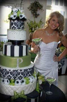 Modern black and green cake