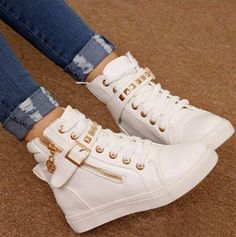 329892328e3 Korean Style Zipper Riveted Comfortable Shoes Bílé Kalhoty
