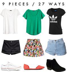27 ways to style 9 pieces.   #capsulewardrobe #uniform #summer