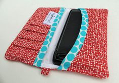 iphone / cell phone wallet Red Jacks with Turquise trim by edeenut, $20.00