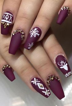 cool winter nail art design idea