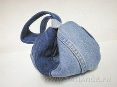 Denim CLUTCH bag crescent shaped 4 different demin by TatiAnge, €35.00