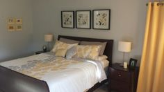 Yellow Gray Master Bedroom
