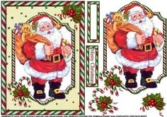 Joyful Santa quick card on Craftsuprint designed by Carol Smith - a quick make topper sheet for Christmas which has a very jolly Santa with his sack full of gifts, coordinating tag for the placement of your choice says merry Christmas also a blank tag for the greeting of your choice.thank you for looking please take a peek at my other items - Now available for download!