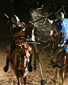 Medeival Times Chicago in Schaumburg-  Wood flies as the Yellow Knight and the Blue Knight battle