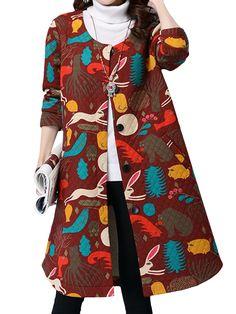 Sale 16% (36.49$) - Vintage Printing Long Sleeve Loose Winter Long Coat
