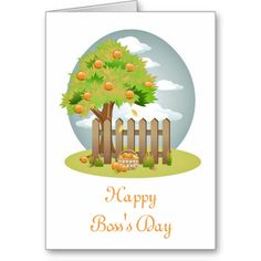 Happy Boss's Day with fruit tree custom text Card