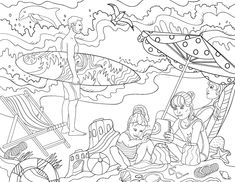"""Free printable """"Day at the Beach"""" adult coloring page. Download it in PDF format at http://coloringgarden.com/download/day-at-the-beach-coloring-page/"""