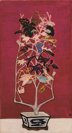 'Fruiting and Flowering Potted Plant' By Chinese-French artist Sanyu (1901-1966). Oil on board, 131x 72 cm. via art of Sanyu