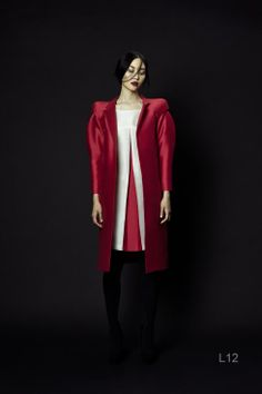 PHUONG MY  Double-Layered Coat  Long sleeves, classic neckline, just below the knee length. Fabric: 50% Wool / 50% Silk. #phuongmy #silk #organza #wool #redcoat