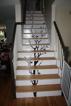 Staircase tree decal by KBDirect on Etsy Painted Stair Risers, Painted Staircases, Curved Staircase, Staircase Design, Escalier Art, Redo Stairs, Stairway Decorating, Stair Stickers, Stair Decor