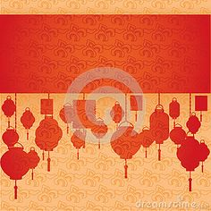 Chinese red and cream cloud pattern and lanterns horizontal banner