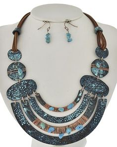 Copper Tone & Patina / Turquoise Stone / Brown Cord / Lead&nickel Compliant / Metal / Fish Hook (earrings) / Necklace & Earring Set