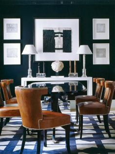 BXW with great pattern and luggage-leather studded dining chairs, by Luis Bustamante. A beautiful dining room oozing with drama. Dining Room Design, Dining Room Chairs, Dining Rooms, Dining Tables, Dining Area, Dining Room Inspiration, Interior Inspiration, Inspiration Design, Interior Ideas