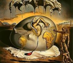 "Salvador Dali, Geopoliticus Child Watching the Birth of the New Man. Note the location of the ""new man's"" birth. My favorite piece by Dali. Salvador Dali Museum, Salvador Dali Paintings, Surreal Art, Oeuvre D'art, Les Oeuvres, Art History, Modern Art, Cool Art, Art Photography"