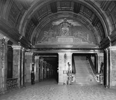 Interior view of, The Equitable Life Assurance Building, that was located at 120 Broadway, in New York City. Designed by Gilded Age architect, George B. Post in c.1870. The 7 1/2 story high building is considered the first example of a skyscraper in the United States. Also the first office building, to have a passenger elevator. Building destroyed by fire, c.1912. ~ (Image via: Paul R. Williams Project) ~~(NYP) ~~ {cwl}