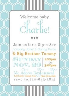 Sip and See Boy Baby Shower Invitation Sip and see Baby showers