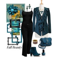 """Plus Size Work in Black & Teal"" by elise1114 on Polyvore"